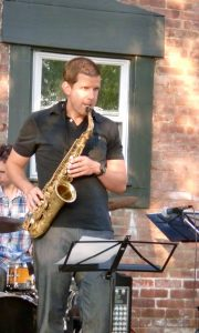 Jeff playing sax - outdoor gig
